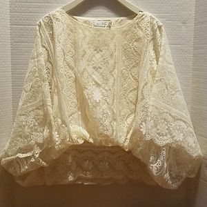 Beyond Vintage ivory lace blouse. XS
